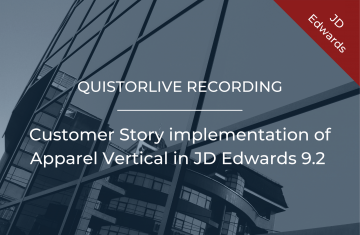 Customer Story implementation of Apparel Vertical in JD Edwards 9.2